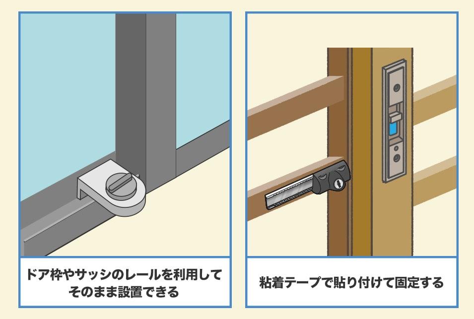賃貸物件でも設置できる『穴あけ不要タイプ』の補助錠