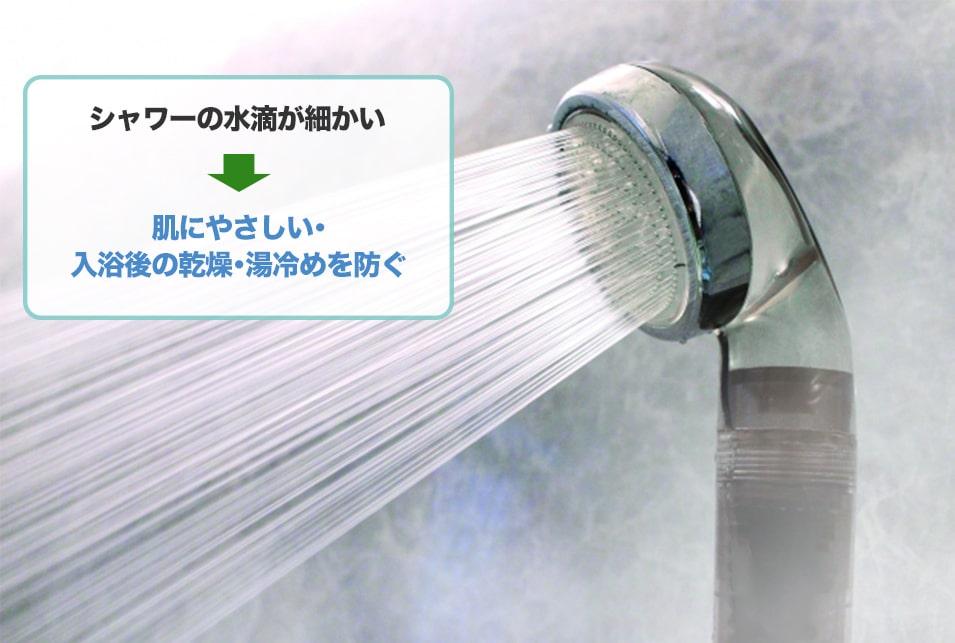 『マイクロバブル』などシャワーの水を細かくする機能付きのシャワーヘッド