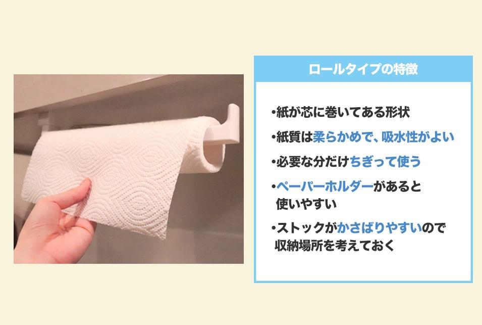 『ロールタイプ』のペーパータオルは1枚ずつ切り離して使う